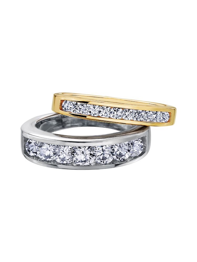 domed row white wedding gold pave ring two anniversary set band diamond
